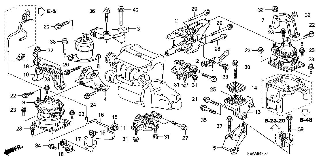 Honda Genuine Engine Mounts, 2004-08 Acura TSX CL9 for Automatics and  Manuals | Acura Tsx 2004 Engine Diagram |  | Heeltoe Automotive