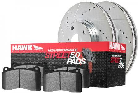 Hawk Performance Sector 27 Kit w/HPS 5.0 Brake Combo Package, Rear, Drilled & Slotted, HK5368.564B