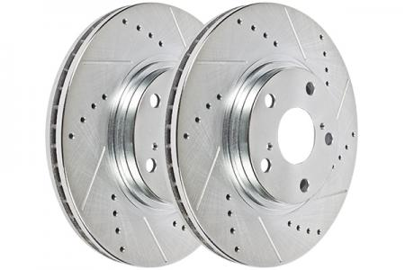 Hawk Performance Sector 27 Brake Rotor Pair, Rear, Drilled & Slotted, HR4202