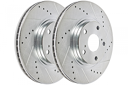 Hawk Performance Sector 27 Brake Rotor Pair, Front, Honda Civic 2001-05 (ALL), Drilled & Slotted, HR5174